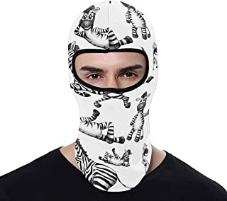 INTERESTPRINT Cute Zebra Balaclava Full Face Mask Winter Windproof Ski Mask for Outdoor Motorcycle Cycling Hiking Sports