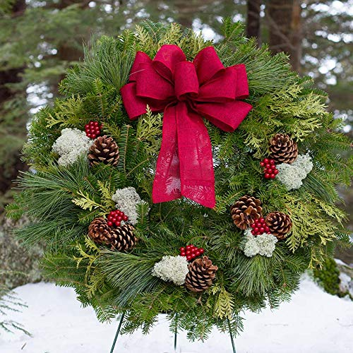 Fresh Christmas Wreaths For Front Door - 22' - Real Fragrant Balsam & Pine Smells Like Xmas - Live Evergreens Lasts Holiday Season Outdoors - Arrives at Front Door in Red Gift Box
