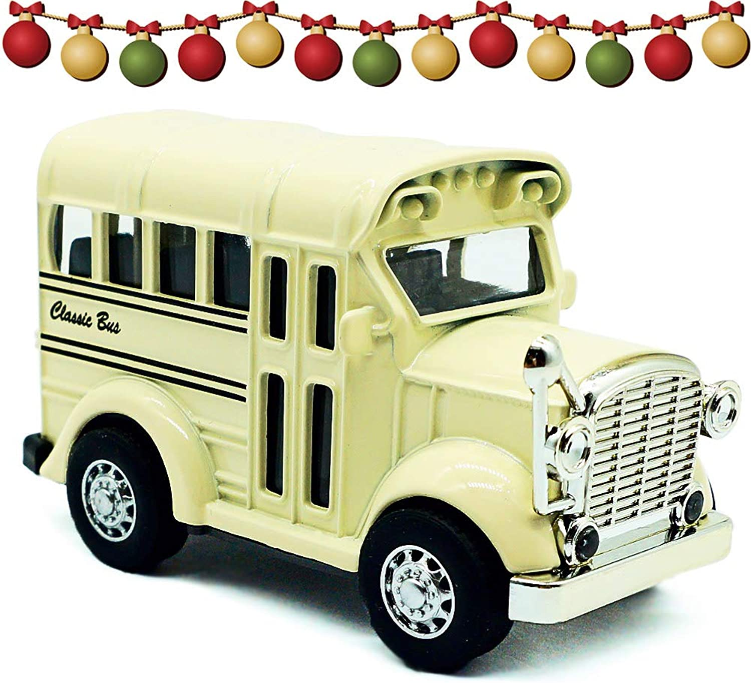 THREE BEARS 3.15'' Pull Back Die Cast,Lights & Sounds School Bus Toy,1 36 Scale Classic Diecast Model Cars(White)...