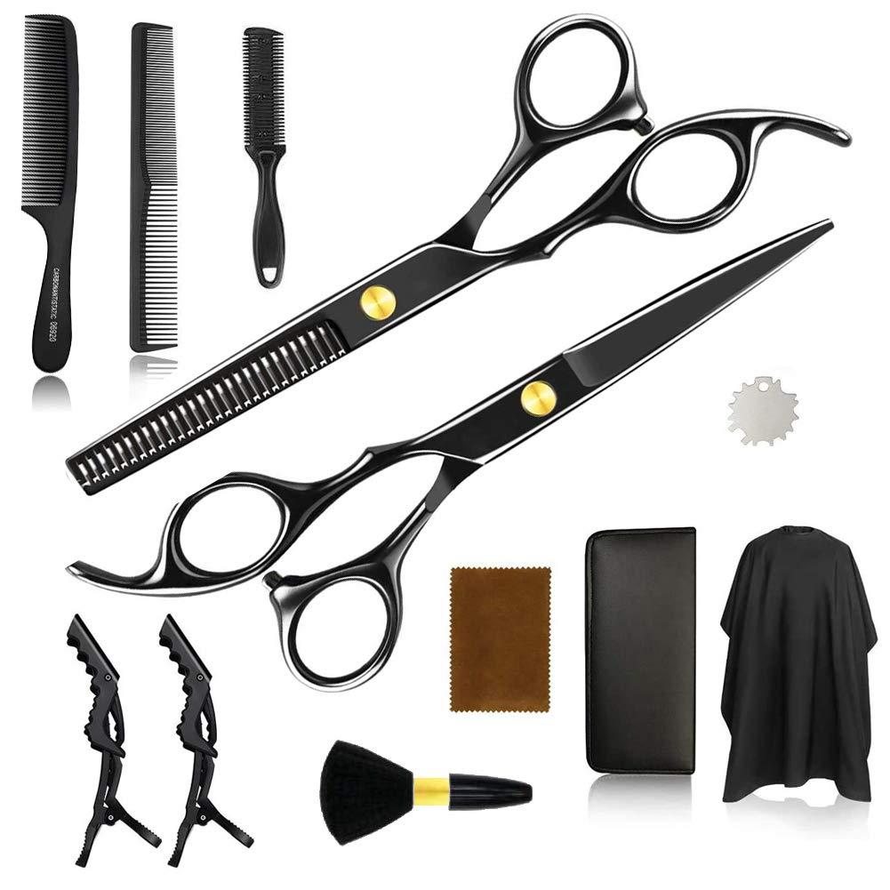 Hair Cutting Scissors, 12pcs/Set Haircut Shears Kit Black Hairdressing Kit for Men, Women,Barber, Salon, Home,Gift for Friends, Family : Beauty & Personal Care