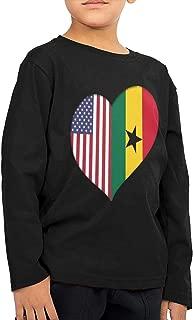 CERTONGCXTS Baby Girls' Little Boys' Heart Ghana American Flag ComfortSoft Long Sleeve Shirt