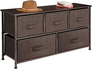 mDesign Extra Wide Dresser Storage Tower - Sturdy Steel Frame, Wood Top, Easy Pull Fabric Bins - Organizer Unit for Bedroom, Hallway, Entryway, Closets - Textured Print - 5 Drawers - Espresso Brown
