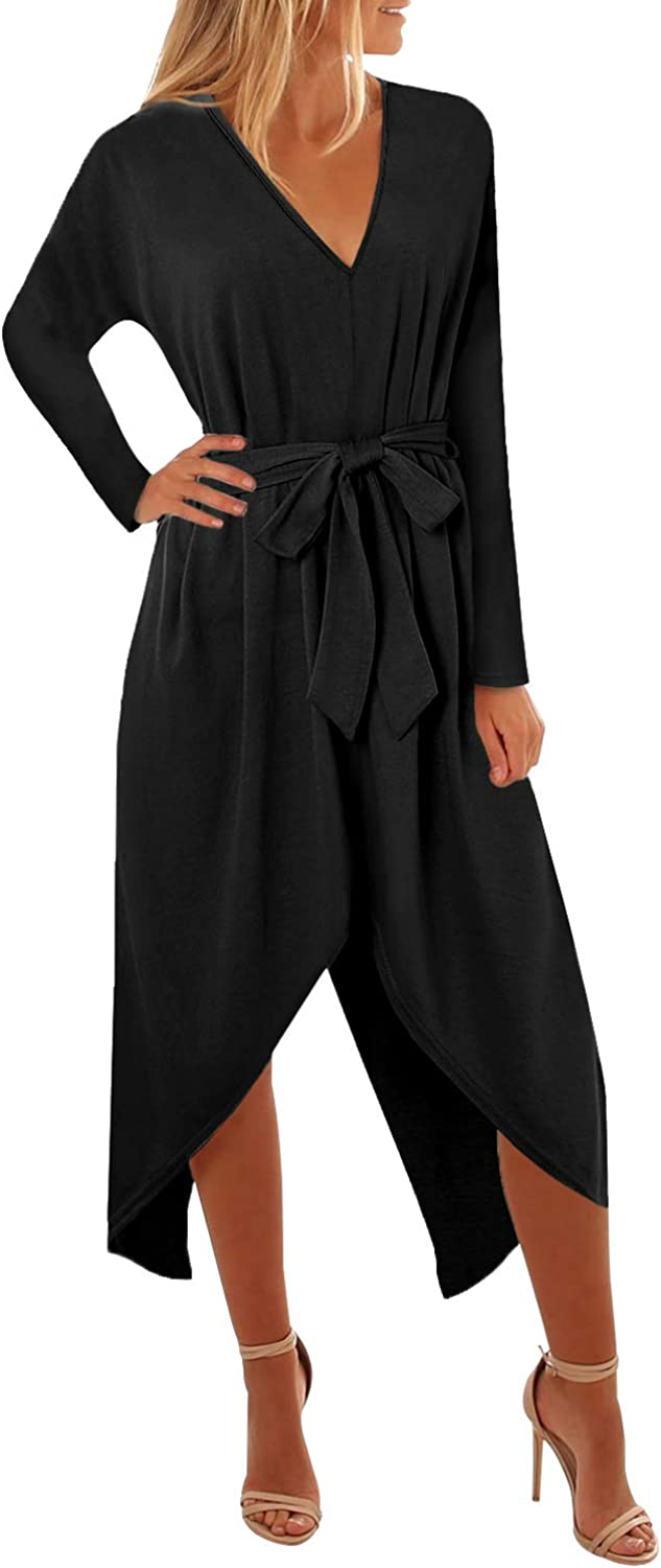 Blooming Jelly Women's Casual Long Sleeve Tie Waist High Slit Flowy Party Maxi Dress