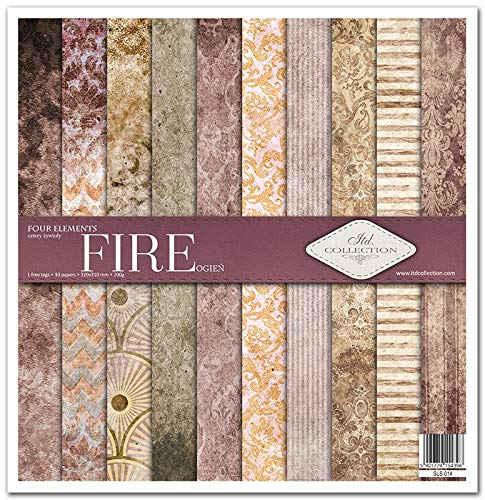 ITD Collection - Scrapbook-Paket, Scrapbooking-Papier, Decoupage, Dekopapier, Kartengestaltung, Papiergröße – 310 x 320 mm (Feuer))