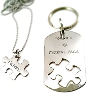 Missing Piece - Personalized Necklace and Keychain Set - Puzzle Piece Cut Out - Couples Gift