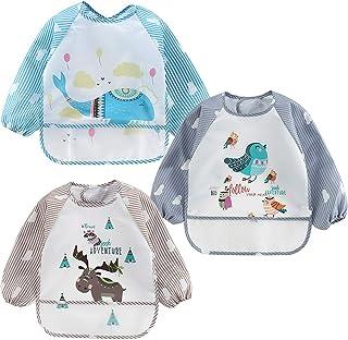 4G-Kitty Infant Toddler Baby Waterproof Bib Apron, Toddler Baby Sleeved Bibs Waterproof Feeding and Painting Art Smock wit...