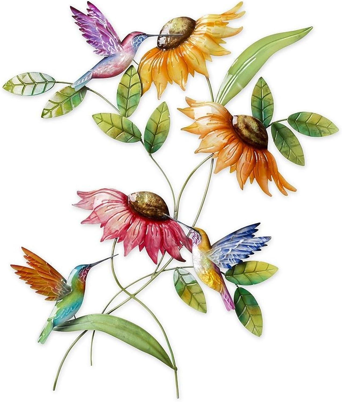 Hummingbird and Sunflower Metal Wall Art