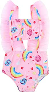 2Pcs Set Toddler Baby Girl Swimsuit Lollipop Rainbow Ruffle Swimwear Bikini Tankini Sunsuit