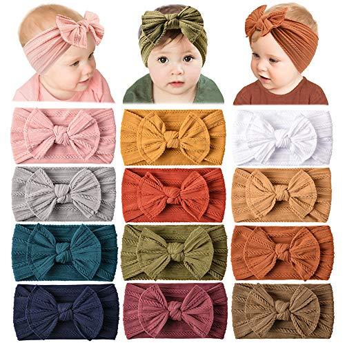12 Pack Baby Nylon Headbands Hairbands Hair Bow Elastics Handmade Hair Accessories for Baby Girls Newborn Infant Toddlers Kids