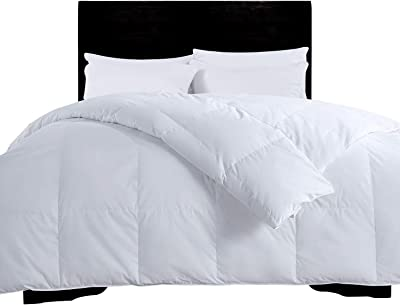 Dreamhood All Season Natural White Down Comforter, 100% Cotton Cover, Full/Queen, White