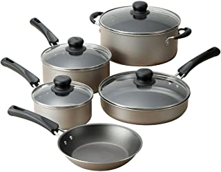 9Piece Non-Stick Cookware Set, Nonstick Interior - Easy to Clean, Heat Glass Lid Pots and pans set Kitchen cookware sets C...