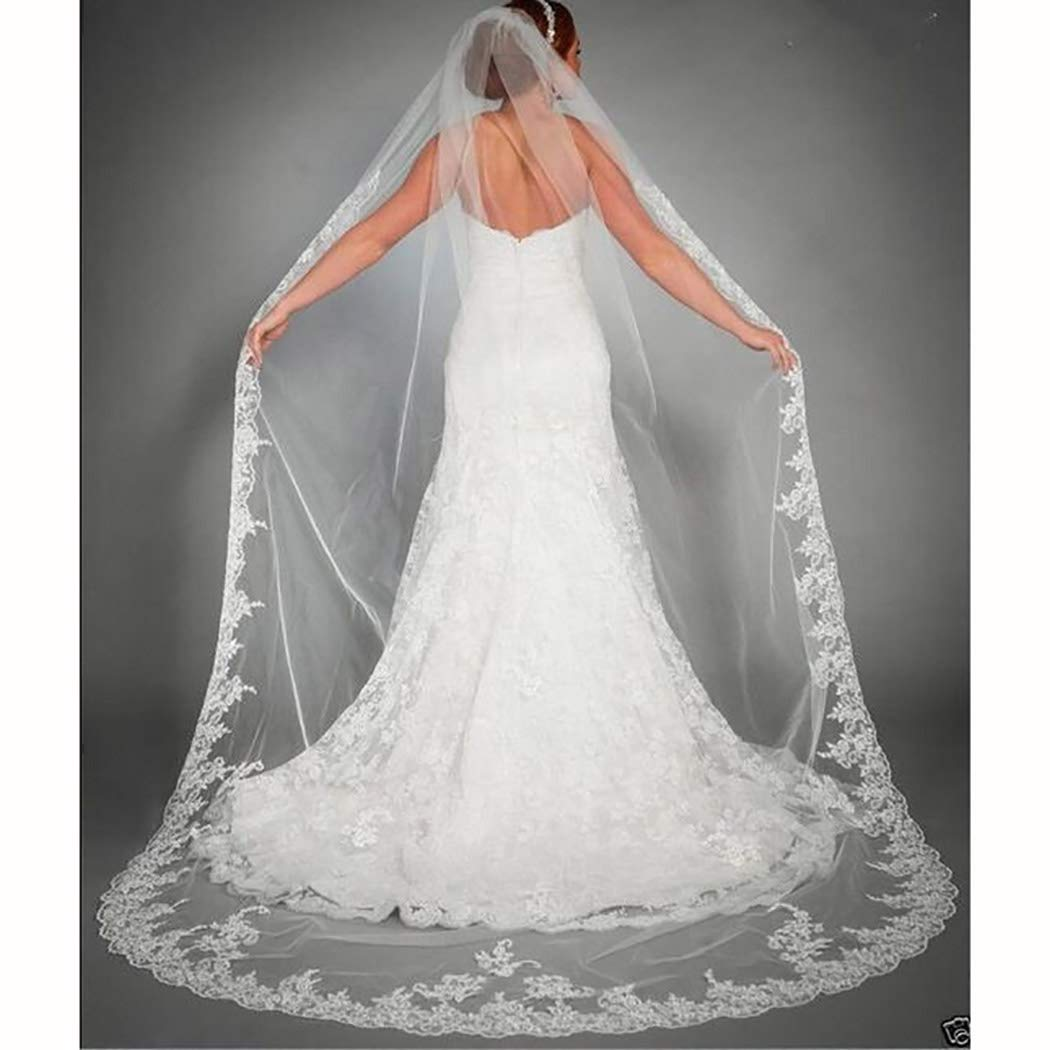 Ursumy Gorgeous Wedding Lace Veil Floral Long Cathedral Veils for Brides Soft Tulle Bridal Veils with Comb 118