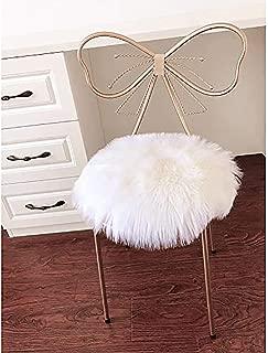LOCHAS Super Soft Round Seat Cushion Faux Fur Sheepskin Chair Cover Pad Plush Rugs for Living & Bedroom Sofa, 14''x14'' White