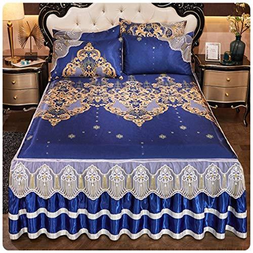 Zomer Luxe Kant bed mat 3 stks omrand machine wasbaar cool spreien hot koop zachte laken antislip ijs zijde bed cover