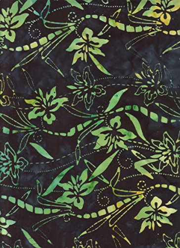 Anthology Fabrics Chartreuse Green Orchids and Bamboo Leaves Stamped on Raisin Black Batik ~ HALF YARD!!~ Hand Dyed Batik #11080 ~ Quilt Fabric 100% Cotton 44' (111.8 cm) Quilt Fabric