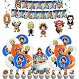 Decoración de Cumpleaños One Piece Globos Pancarta de Feliz Cumpleaños Decoracion Tarta Adornos de Remolinos Colgantes para Niños Anime Artículos de Fiesta de Cumpleaños Temáticos