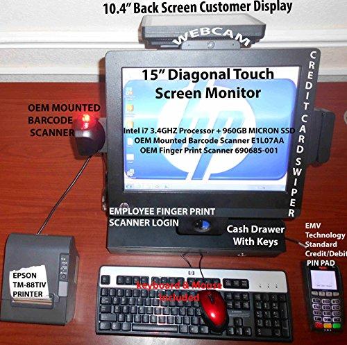 Fantastic Prices! HP RP7 15Intel i7 3.4GHz 16GB 960gb SSD E1L07AAScanner690685-001Finger Printer