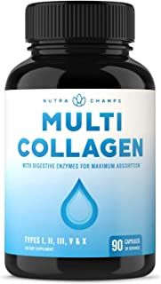Multi Collagen Pills (Types I,II,III,V,X) Double Hydrolyzed Enhanced Absorption Collagen Peptides Powder Capsules - Health...