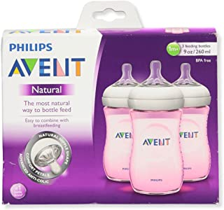 Philips Avent Natural PP Pink 9-Ounce Baby Bottles (Pack of 3)