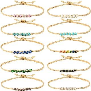 Tarsus Beaded Hemp Wish Friendship Bracelets Set/Anklets Set 10 Pcs for Women Girls String Braided Woven Adjustable Jewelry Birthday Gift