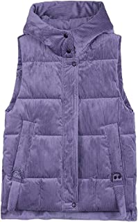Women Zipper with Hooded Jacket Sleeveless Warm with Pocket Loose Vest