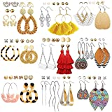 47 Pairs Fashion Earrings for Women Girls, Boho Statement Tassel Rattan Leather Earrings Ethnic Fashion Butterfly Stud Acrylic Hoop Silver Drop Dangle Earrings Set for Birthday Everyday Jewelry Gift