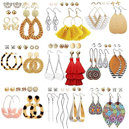 47 Pairs Fashion Earrings for Women Girls, Boho Statement Tassel Rattan Leather Earrings Ethnic...