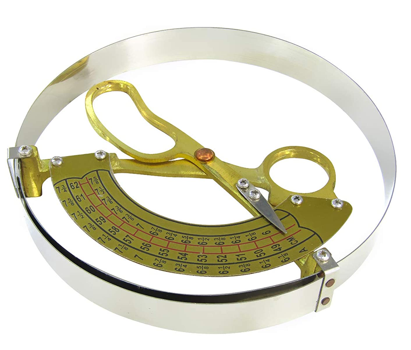 JIAWANSHUN Hat Ruler Aluminum Handle Cap Ruler Scissor Type Ring Compass Inner Diameter Ruler for Adults' Hat (49-62cm)
