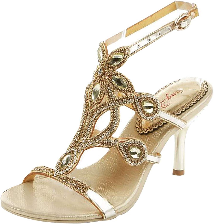 Women's Fashio Glitter Rhinestone Medium Heel Sandals Thongs Wedding Party