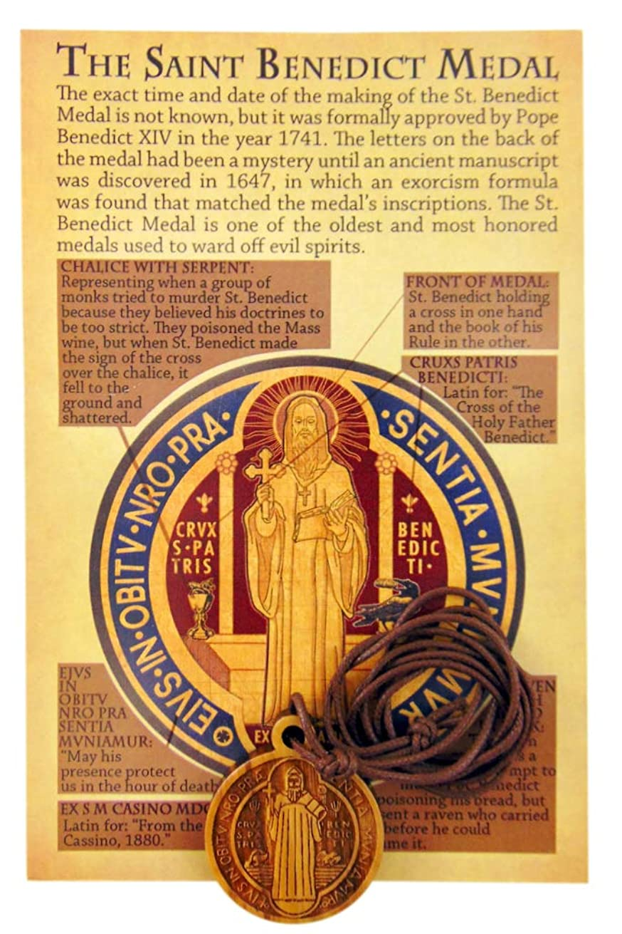 Westman Works Olive Wood St Benedict Medal on a Leather Cord with Prayer Card Gift Set