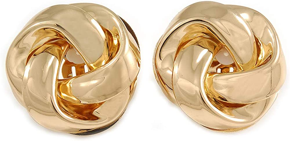 Large Polished Gold Tone Knot Clip On Earrings - 35mm D