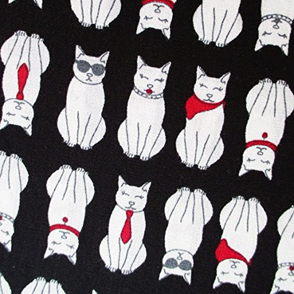 Cat Fabric Japanese Fabric by The Yard - Cats on Black 36 by 36-Inch Wide (1 Yard) (CT670)
