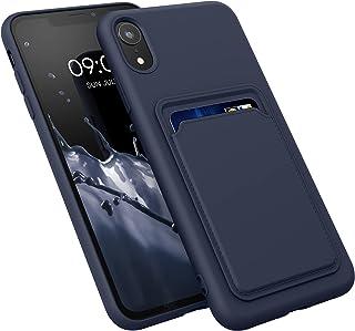 kwmobile hoesje compatibel met Apple iPhone XR - Telefoonhoesje met pasjeshouder - Smartphone hoesje in donkerblauw