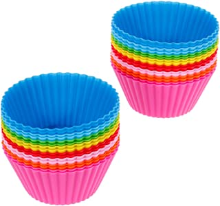 Anpro 32 PCS Silicone Cupcake Muffin Baking Cups, Baking Cups Reusable with 8 Colors, Reusable Non-Stick Cake Molds Sets