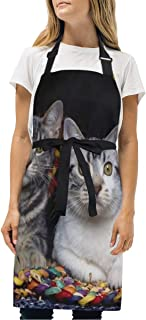 YIXKC Apron Cats Basket Animal Adjustable Neck with 2 Pockets Bib Apron for Family/Kitchen/Chef/Unisex