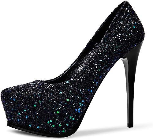 CHEXIAO Boca Baja Tacones Altos, plataforma Impermeable Lentejuelas Atractivas Diamantes De Imitación zapatos De Tacón Superfinos, 13 Cm (Color   negro, Tamaño   36)