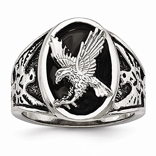 FB Jewels Solid Stainless Steel Polished Enameled Eagle Ring Size 12