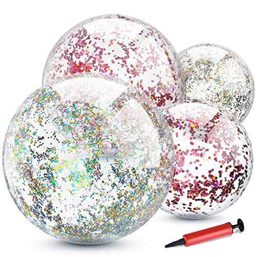 TUPARKA 4er Pack Glitter Wasserball für Sommer Beach Favor Pool Party Spielzeug mit Inflator