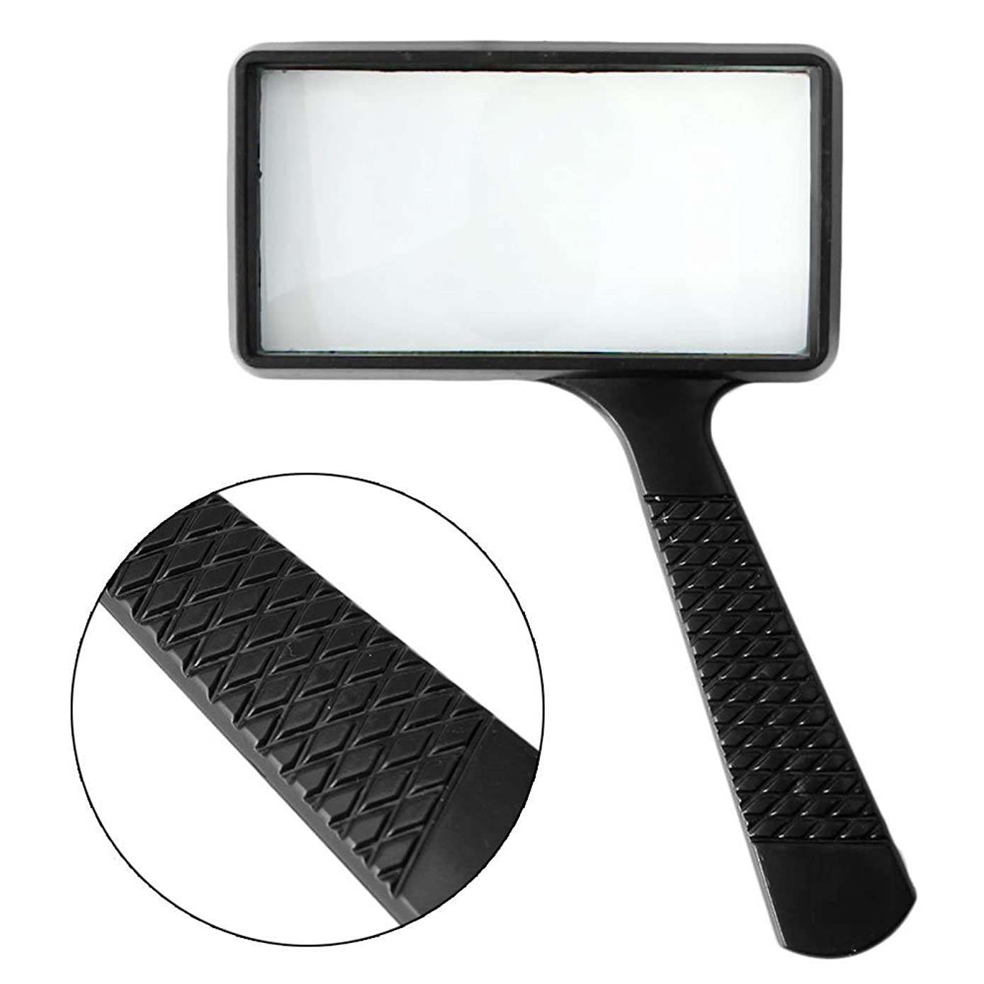 EA-STONE Portable Handheld Rectangular 3X Magnifier Magnifying Glass Loupe For Reading Jewelry