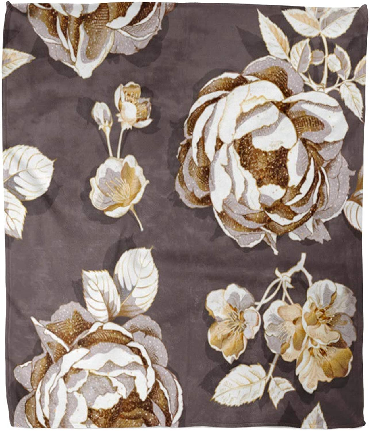 Emvency 50  x 60  Super Soft Throw Blanket Beautiful with gold Peony and Cherry Flowers and Leaves on Dark Beauty Blooming Bud Home Decorative Flannel Velvet Plush Blanket