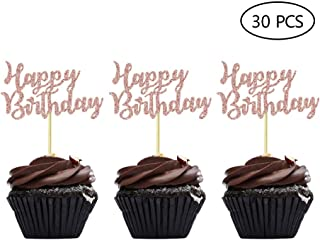Rose Gold Happy Birthday Cupcake Topper Picks for Celebrating Birthday Party Decorations 30PCS