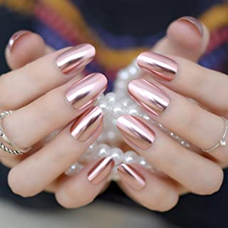 Oval Mirror Fake Nails Light pink Ladies False Nails Cool Style Sexy Nail Decoration Tips N18