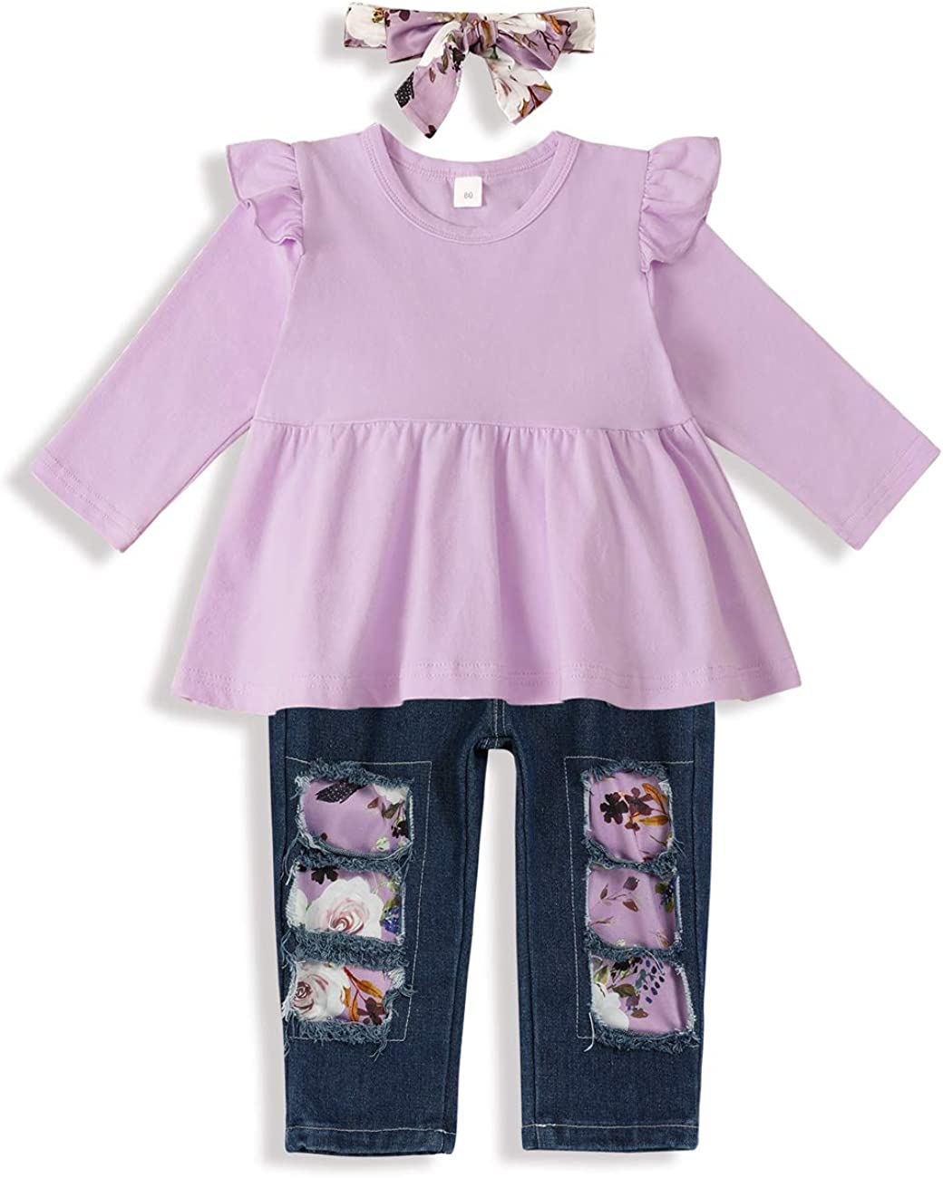 Gavol Toddler Baby Girl Clothes Solid Color Ruffle Top+Floral Ripped Jeans with Headband Baby Girl Outfit Sets