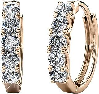 Cate & Chloe Bethany Strong White Gold Hoop Earrings, 18k Gold Hoop Earrings with Swarovski Crystals, Silver Hoop Earring ...
