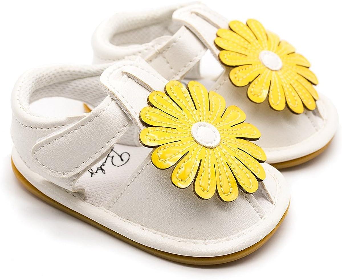 HONEY$HOMEY Baby Girls Sneaker Shoes Ultra-Soft Sunflower Decor RubberSole Infant Crib Sandals