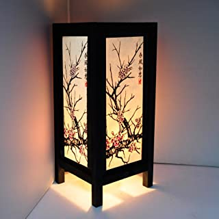 """Cherry Blossom White Black Pink Painting 11"""" Wood Bedside or Table Lamp Japanese.."""
