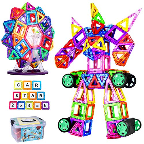 FlyCreat マグネットブロック 128ピース 磁気おもちゃ 子供 女の子 男の子 お孫さん マグネットおもちゃ 磁石ブロック 想像力と創造力を育てるオモチャ 立体パズル ゲーム モデルDIY 磁石積み木 誕生日 入園 ギフト 出産祝い クリスマス プレゼント 贈り物 収納ケース付き