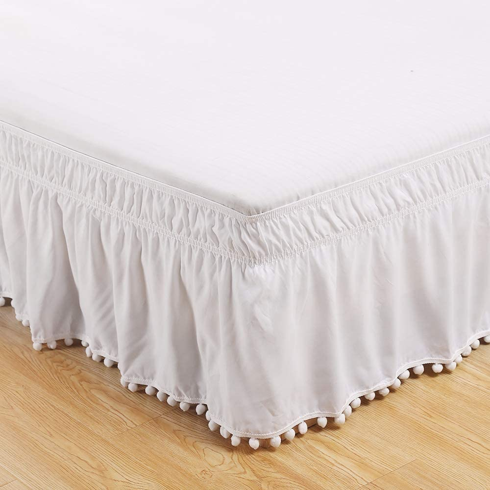 Black, 99 cm x 190 cm Hotel Elastic Dust Easy Fit Wrinkles Fade-Resistant Fitted Valance A Bed Skirt