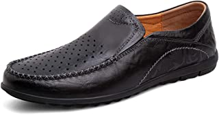 Men Driving Loafers Casual Unsubdivided Retro Ox Leather Comfortable Boat Moccasins(Vacuous Optional) casual shoes (Color : Hollow black, Size : 41 EU)