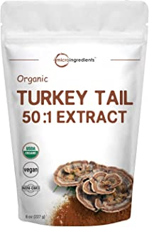 Sustainably US Grown Organic Turkey Tail Mushroom Powder (50:1 Extract), 8 Ounce (227Grams), Naturally Supports Immune Response and Cellular Level, No GMOs and Vegan Friendly
